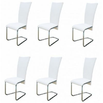 WHITE LABEL - Chaise-WHITE LABEL-6 Chaises de salle a manger blanches