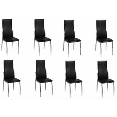 WHITE LABEL - Chaise-WHITE LABEL-8 Chaises de salle a manger noires