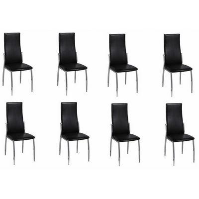 WHITE LABEL - Chaise-WHITE LABEL-8 Chaises de salle a manger noires