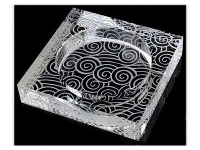 WHITE LABEL - Cendrier-WHITE LABEL-Cendrier carré en verre gravé de tourbillons acces