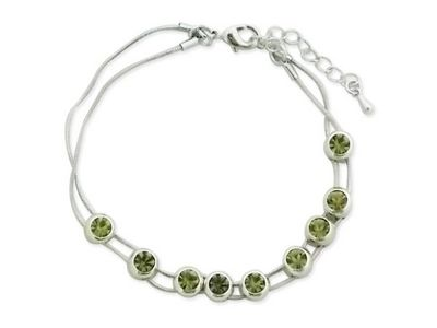 WHITE LABEL - Collier-WHITE LABEL-Bracelet aux  faux cristaux verts mobiles bijou fa