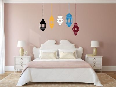 WHITE LABEL - Sticker-WHITE LABEL-Sticker 5 Lampes Mauresques multi couleurs