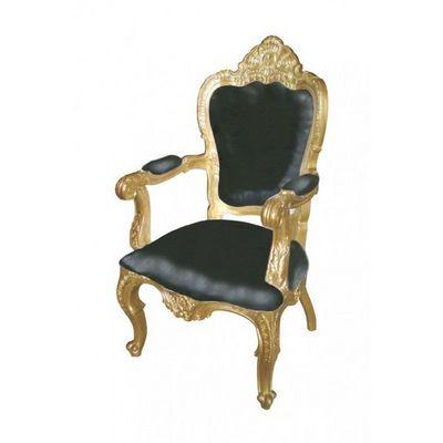 DECO PRIVE - Fauteuil-DECO PRIVE-Fauteuil baroque noir et dor� mod�le carved