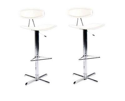 WHITE LABEL - Chaise haute de bar-WHITE LABEL-Lot de 2 taboures chaises de bar UPTOWN chromé/bla