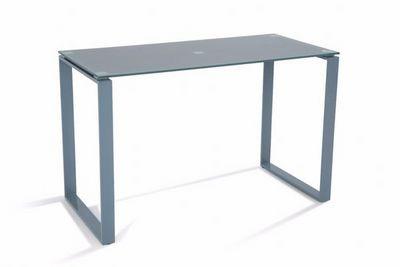 WHITE LABEL - Bureau-WHITE LABEL-Bureau NASDROVIA en verre trempé gris 120 cm