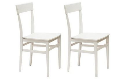 WHITE LABEL - Chaise-WHITE LABEL-Lot de 2 chaises NAVIGLI en hêtre laque blanc bril