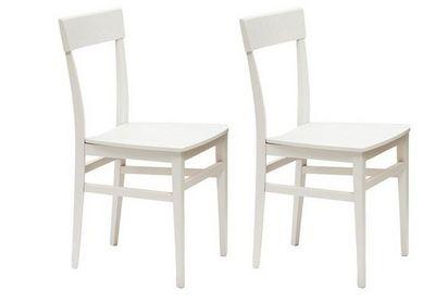 WHITE LABEL - Chaise-WHITE LABEL-Lot de 2 chaises NAVIGLI en hêtre laque blanc bril