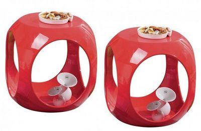 WHITE LABEL - Table d'appoint-WHITE LABEL-Lot de 2 tables d'appoints design NONO en ABS rou