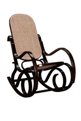 WHITE LABEL - Rocking chair-WHITE LABEL-Rocking-chair canné FRANKLIN noyer