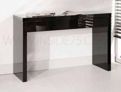WHITE LABEL - Console-WHITE LABEL-BLACK Console design laquée noir brillant, 2 tiroi