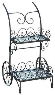 Aubry-Gaspard - Porte-pots de jardin-Aubry-Gaspard-Chariot porte-pots en métal vieilli