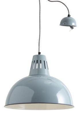 Aubry-Gaspard - Suspension-Aubry-Gaspard-Lampe suspension vintage en m�tal laqu� Gris vert