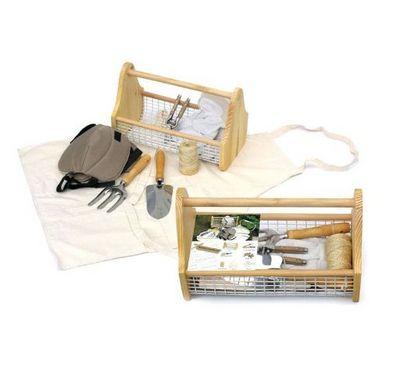 Clementine Creations - Kit de jardinage-Clementine Creations-Panier Bois + Kit Jardinage