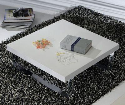 WHITE LABEL - Table basse carrée-WHITE LABEL-Table basse METROPOLIS design blanc 65 cm