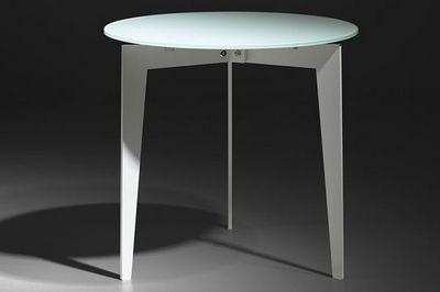 WHITE LABEL - Table basse ronde-WHITE LABEL-Table basse ronde DALLAS en verre dépoli blanc