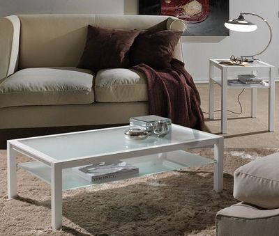 WHITE LABEL - Table basse rectangulaire-WHITE LABEL-Table basse DOMUS blanc design en verre blanc