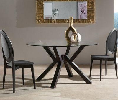 WHITE LABEL - Table de repas ronde-WHITE LABEL-Table repas TEOREMA en verre design wengé 140 cm