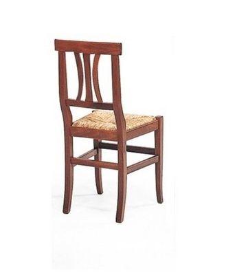 WHITE LABEL - Chaise-WHITE LABEL-Chaise  VECCHIO VANETO design noyer assise en pail