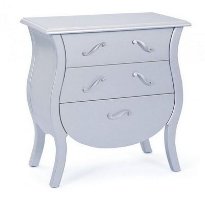 WHITE LABEL - Commode-WHITE LABEL-Commode BAROKKO 3 tiroirs argent