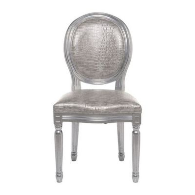 Kare Design - Chaise-Kare Design-Chaise baroque Louis Croco argent Antique