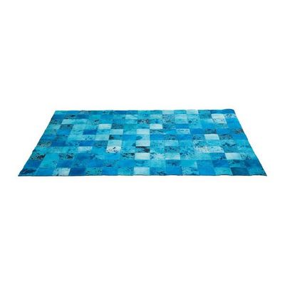 Kare Design - Tapis contemporain-Kare Design-Tapis Patchwork Blue Water Cuir 170x240cm