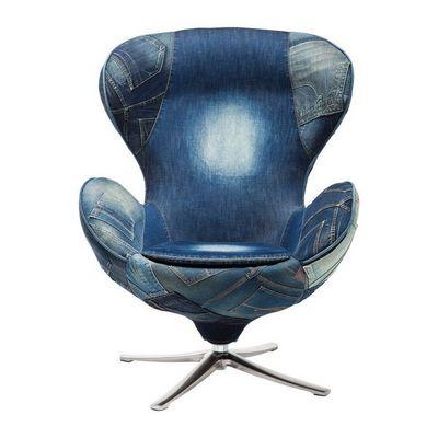 Kare Design - Fauteuil rotatif-Kare Design-Fauteuil Pivotant Lounge Jeans