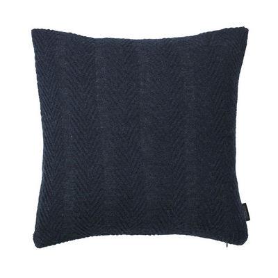 LOUISE ROE COPENHAGEN - Coussin carré-LOUISE ROE COPENHAGEN-100% Baby Alpaca Cushion Herringbone Dark Blue