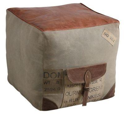 Aubry-Gaspard - Pouf-Aubry-Gaspard-Pouf carré en coton et cuir