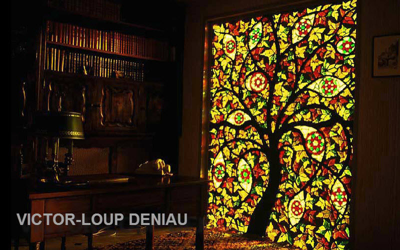 Vitraux-Deniau Stained glass Stained glass Ornaments Home office | Eclectic