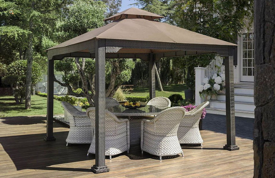 Valencia Rattan Gazebo Huts and gazebos Garden Gazebos Gates...  |