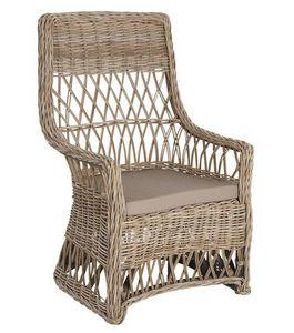 Aubry-Gaspard - fauteuil gris avec coussin en poelet 63x65x100cm - Garden Armchair
