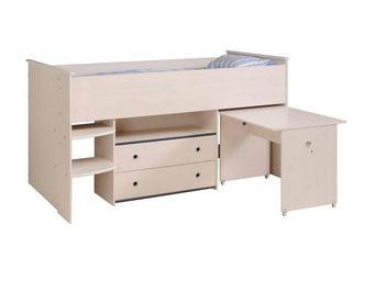 WHITE LABEL - lit 90*200 cm bureau et commode intégrés pin blanc - Children's Bed