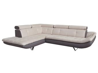 WHITE LABEL - canapé d\'angle taupe/beige - caio - l 260 x l 21 - Adjustable Sofa