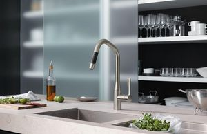 Kitchen mixer tap with spray attachment