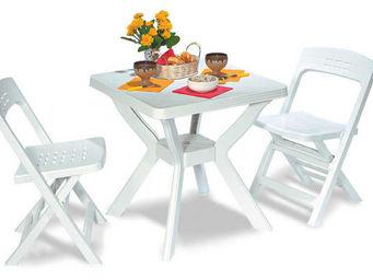 ALPINA GARDEN - ensemble de balcon 3 pièces en résine blanche - Garden Furniture Set