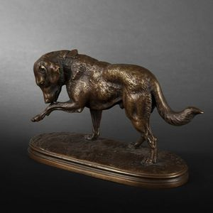 Expertissim - chien en bronze par victor chemin - Animal Sculpture