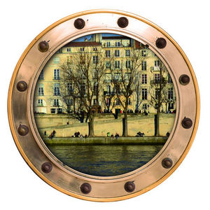 ALFRED CREATION - sticker 3 hublots sur l'île -saint-louis couleur - Sticker