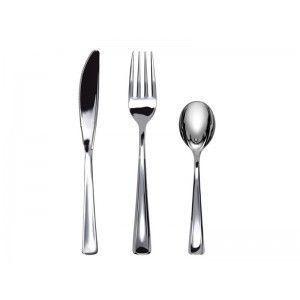 Adiserve - ménagère 18 couverts argent métallisé couleurs arg - Disposable Cutlery
