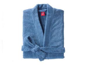 BLANC CERISE - peignoir col kimono - coton peigné 450 g/m² bleu - Bathrobe