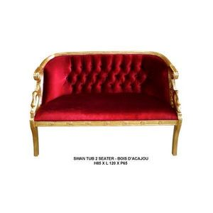 DECO PRIVE - banquette baroque modele cygne 2 places velours ro - 2 Seater Sofa