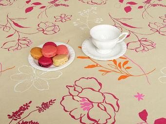 FLEUR DE SOLEIL - nappe enduite cam'lia orange 160x160 - Coated Tablecloth