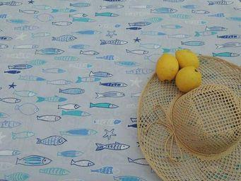 FLEUR DE SOLEIL - nappe enduite poisson 160x160 - Coated Tablecloth