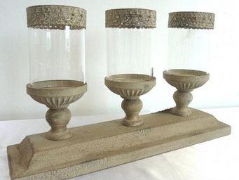 L'HERITIER DU TEMPS - bougeoir triple en fer et bois - Candle Jar