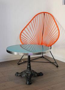 Ardamez - table basse bistrot émaillée bleu / inox / fonte - Round Coffee Table