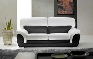 WHITE LABEL - cloé canapé cuir vachette 3 places. bicolore noir  - 3 Seater Sofa
