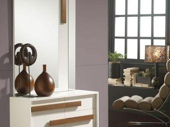 WHITE LABEL - meuble d\'entrée blanc/noyer + miroir - holga - l -