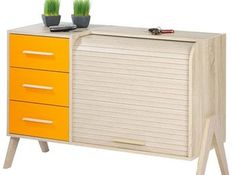 WHITE LABEL - meuble d\'entrée à rideau, 3 tiroirs - arkos n°8 -
