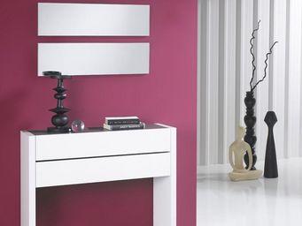 WHITE LABEL - meuble d\'entrée blanc laque + miroirs - nosila - -