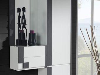 WHITE LABEL - meuble d\'entrée + armoire + miroir blanc/cendre -