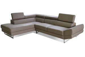 WHITE LABEL - canapé d'angle gauche fixe venise cuir éco taupe - Adjustable Sofa